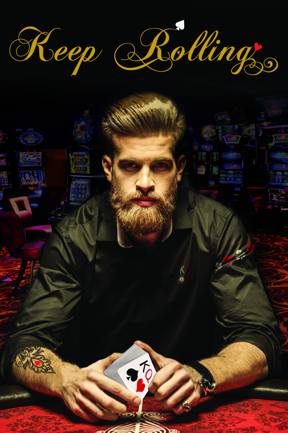 Serious bearded man sitting at poker table and holding smartphone